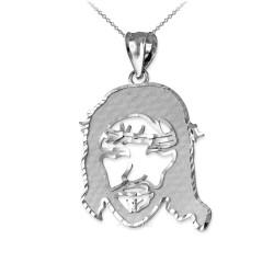 White Gold  Jesus Face DC Charm Necklace