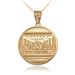 Yellow Gold Last Supper Medallion Pendant Necklace