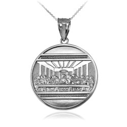 White Gold Last Supper Medallion Pendant Necklace