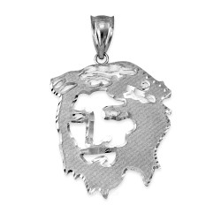 White Gold Jesus Face DC Pendant (S/L)