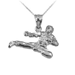 White Gold Karate Kick DC Charm Necklace