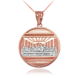 Two-Tone Rose Gold Last Supper Medallion Pendant Necklace
