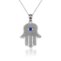 White Gold Hamsa Blue CZ Evil Eye Pendant Necklace