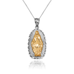 Two-Tone White & Yellow Gold Lady of Guadalupe DC Pendant Necklace