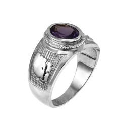 Sterling Silver Gemini Zodiac Sign June Birthstone Violet CZ Ring