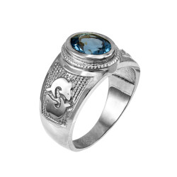 Sterling Silver Pisces Zodiac Sign March Birthstone Aqua CZ Ring
