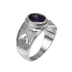 Sterling Silver Aquarius Zodiac Sign February Birthstone Purple CZ Ring