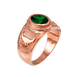 Rose Gold Taurus Zodiac Sign May Birthstone Green CZ Ring