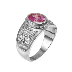 Sterling Silver Libra Zodiac Sign October Birthstone Pink CZ Ring