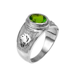 Sterling Silver Leo Zodiac Sign August Birthstone Green CZ Ring