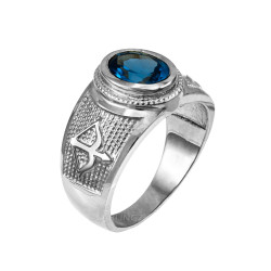 White Gold Sagittarius Zodiac Sign December Birthstone Blue CZ Ring