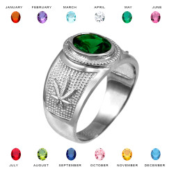 White Gold Marijuana Weed Leaf CZ Birthstone Ring