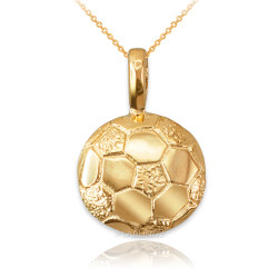 Yellow Gold Soccer Ball Pendant Necklace