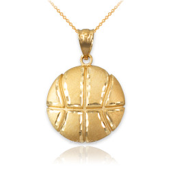 Yellow Gold Basketball Satin DC  Pendant Necklace