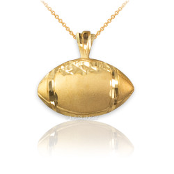 Yellow Gold Satin DC American Football Pendant Necklace