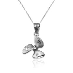 White Gold Satin DC Rotor Propeller Charm Necklace