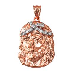 Rose Gold Jesus Face CZ Pendant (S/L)