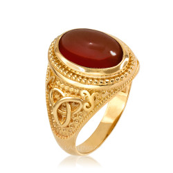 Yellow Gold Celtic Trinity Red Onyx Gemstone Ring