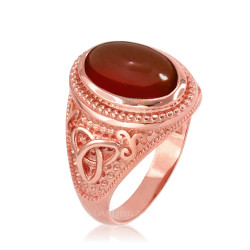 Rose Gold Celtic Trinity Red Onyx Gemstone Ring