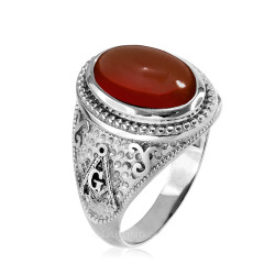 White Gold Masonic Red Onyx Statement Ring