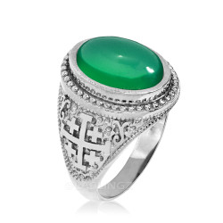 Sterling Silver Jerusalem Cross Green Onyx Gemstone Statement Ring