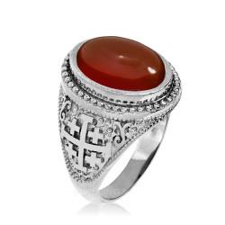 Sterling Silver Jerusalem Cross Red Onyx Gemstone Statement Ring