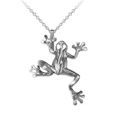 Sterling Silver Frog DC Charm Necklace