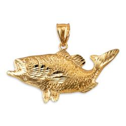Yellow Gold DC Textured Sea Bass Fish Pendant