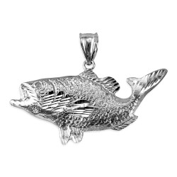 White Gold DC Textured Sea Bass Fish Pendant