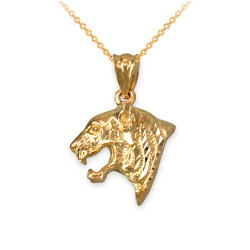 Yellow Gold Tiger Head DC Charm Necklace
