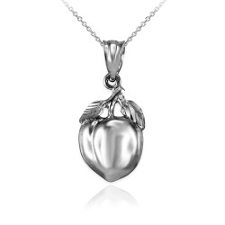 Polished DC White Gold Peach Fruit Charm Necklace