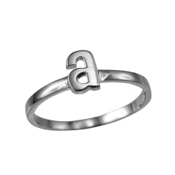 Polished White Gold Initial Letter A Stackable Ring