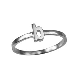 Sterling Silver Initial Letter B Stackable Ring