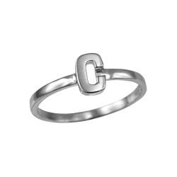 Sterling Silver Initial Letter C Stackable Ring