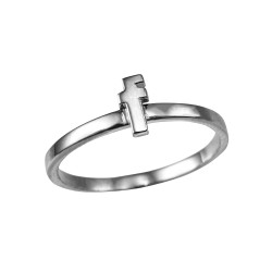 Sterling Silver Initial Letter F Stackable Ring