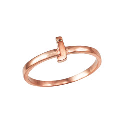 Polished Rose Gold Initial Letter J Stackable Ring