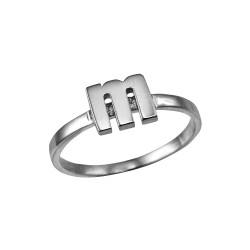 Polished White Gold Initial Letter M Stackable Ring