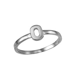 Sterling Silver Initial Letter O Stackable Ring
