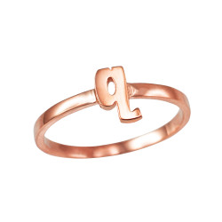Polished Rose Gold Initial Letter Q Stackable Ring
