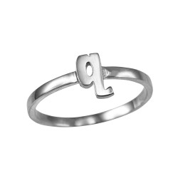 Sterling Silver Initial Letter Q Stackable Ring