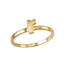 Polished Yellow Gold Initial Letter R Stackable Ring