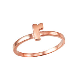 Polished Rose Gold Initial Letter R Stackable Ring