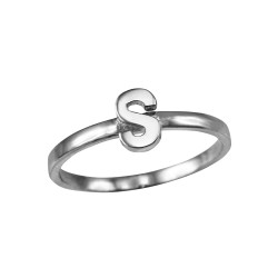 Polished White Gold Initial Letter S Stackable Ring