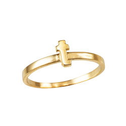 Polished Yellow Gold Initial Letter T Stackable Ring
