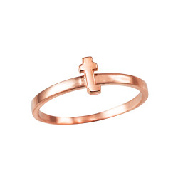 Polished Rose Gold Initial Letter T Stackable Ring