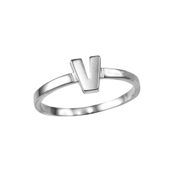 Polished White Gold Initial Letter V Stackable Ring
