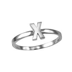 Polished White Gold Initial Letter X Stackable Ring