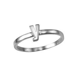 Polished White Gold Initial Letter Y Stackable Ring