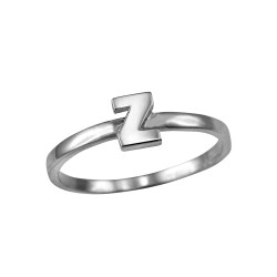 Sterling Silver Initial Letter Z Stackable Ring