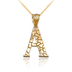 """Yellow Gold Nugget Initial Letter """"A"""" Pendant Necklace"""